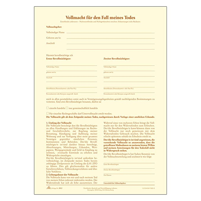 Persönlicher Testament Brief Mit Organspendeausweis Vollmacht Für