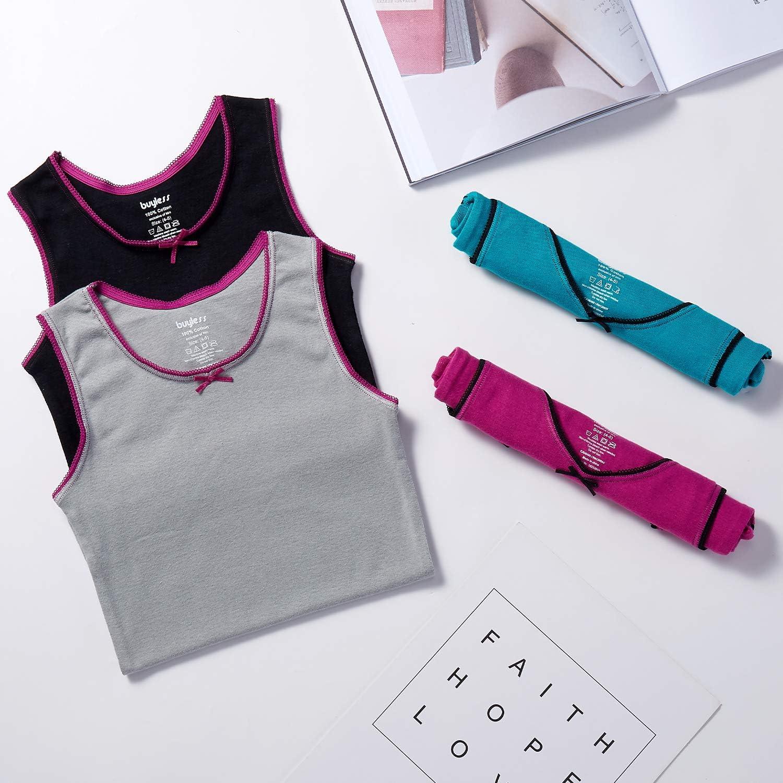 4er Pack Buyless Fashion M/ädchen Unterhemd 100/% Baumwolle runder Ausschnitt