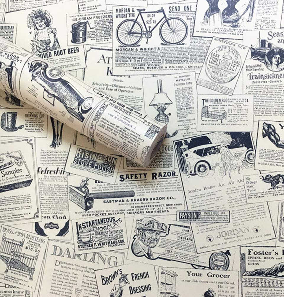 Amao Vintage Newspaper Decorative Contact Paper Vinyl Self Adhesive Shelf Drawer Liner Home Decor 24''x79''