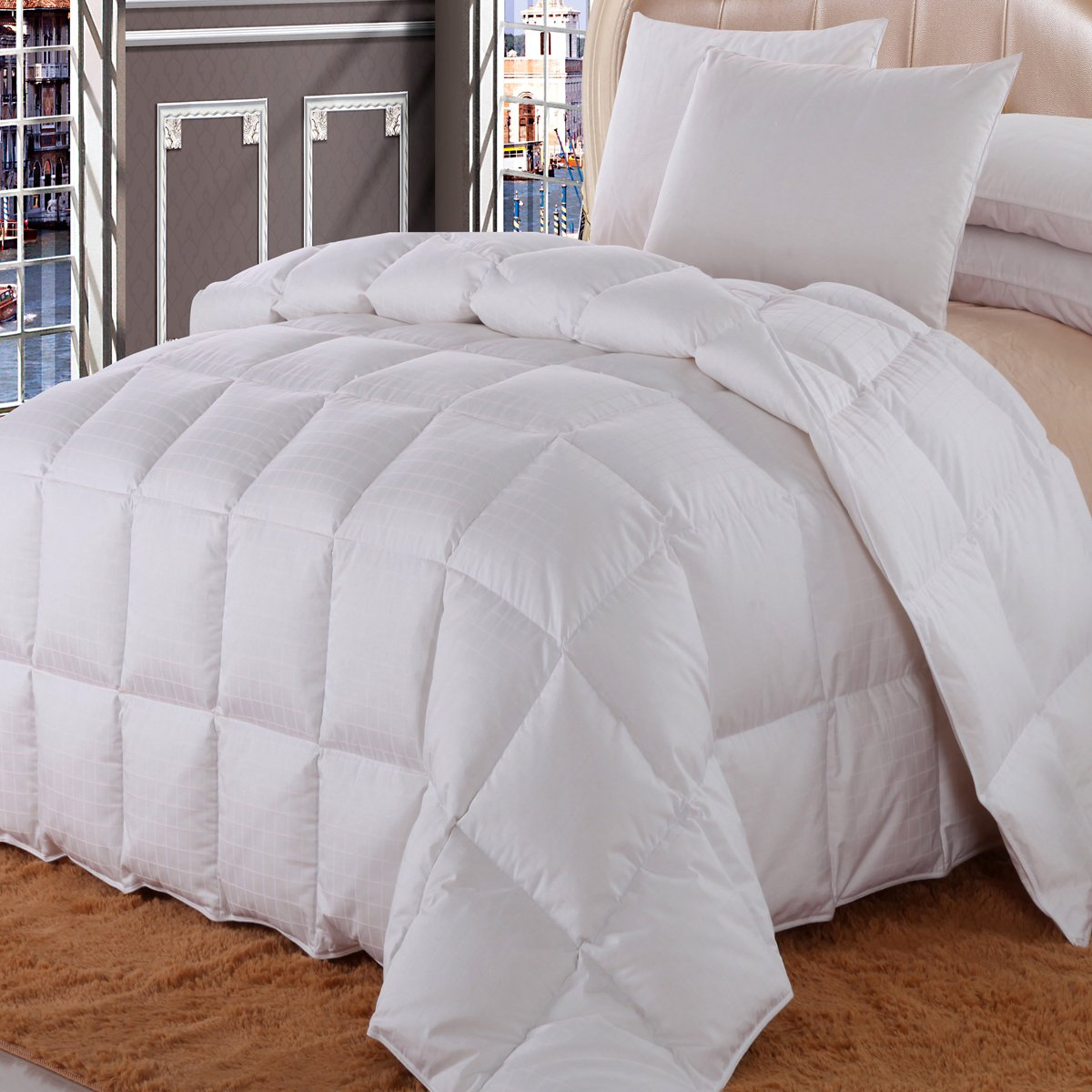 Royal Hotel California King Size Dobby Checkered White goose Down-Comforter 106x90'' 650-Fill-Power 100 % Cotton Shell 300TC -Luxury Duvet Insert 40 oz. fill by Wholesalebeddings