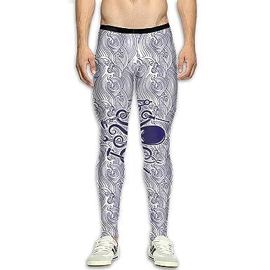 Amazon.com: Mens Compression Leggings Yoga Pants Ocean Wave ...