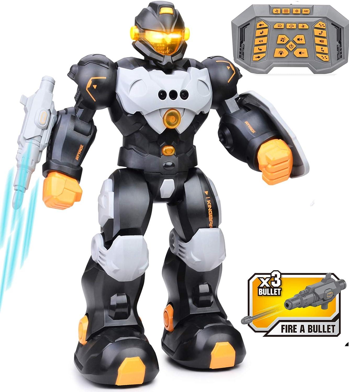 RC Robot Toy for Kids, Smart Intelligent Programmable Remote Control Robots Gesture Sensing Singing Walking Dancing Robot for Boys Girls Gray