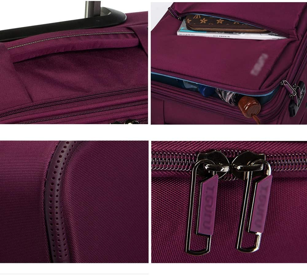 Trolley Case-Waterproof Luggage Box Universal Wheel Suitcase Student Password Box Cloth Box Large Capacity Trolley Case 4 Colors 5 Sizes Optional Color : Purple, Size : 26 Inch