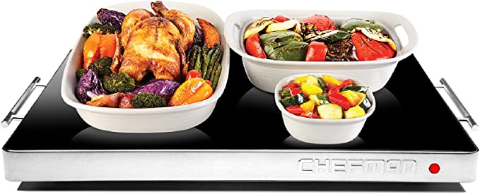 """Chefman Electric Warming Tray with Adjustable Temperature Control, Perfect For Buffets, Restaurants, Parties, Events, Home Dinners, Glass Top Large 21"""" x 16"""" Surface Keeps Food Hot - Black"""