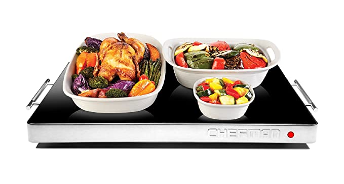 "Chefman Electric Warming Tray with Adjustable Temperature Control, Perfect For Buffets, Restaurants, Parties, Events, Home Dinners, Glass Top Large 21"" x 16"" Surface Keeps Food Hot - Black"