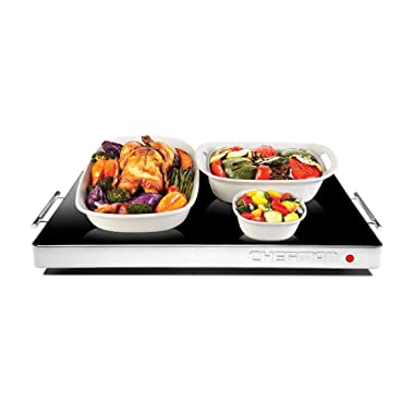 Chefman Electric Warming Tray with Adjustable Temperature Control, Perfect For Buffets, Restaurants, Parties, Events, and Home Dinners, Glass Top Large 21  x 16  Surface Keeps Food Hot - Black