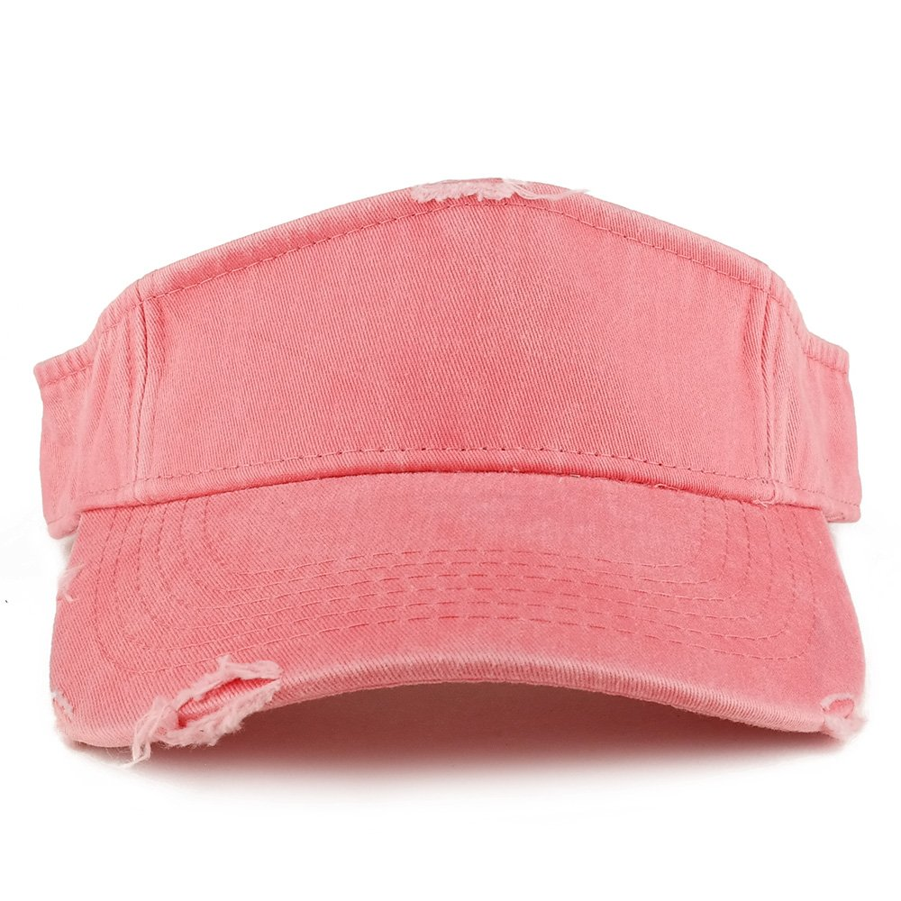 Armycrew Frayed Pigment Dyed Garment Washed Distressed Adjustable Visor Cap - Coral by Armycrew (Image #2)