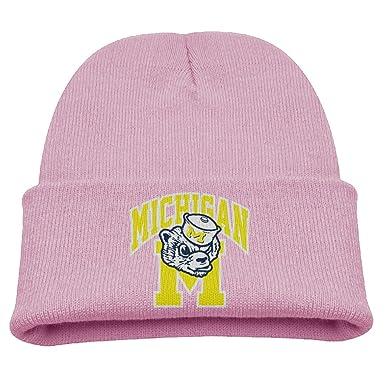 c37abdaa594b3 Michigan Wolverine University Warm Winter Hat Knit Beanie Skull Cap Cuff  Beanie Hat Winter Hats Kids  Amazon.co.uk  Clothing