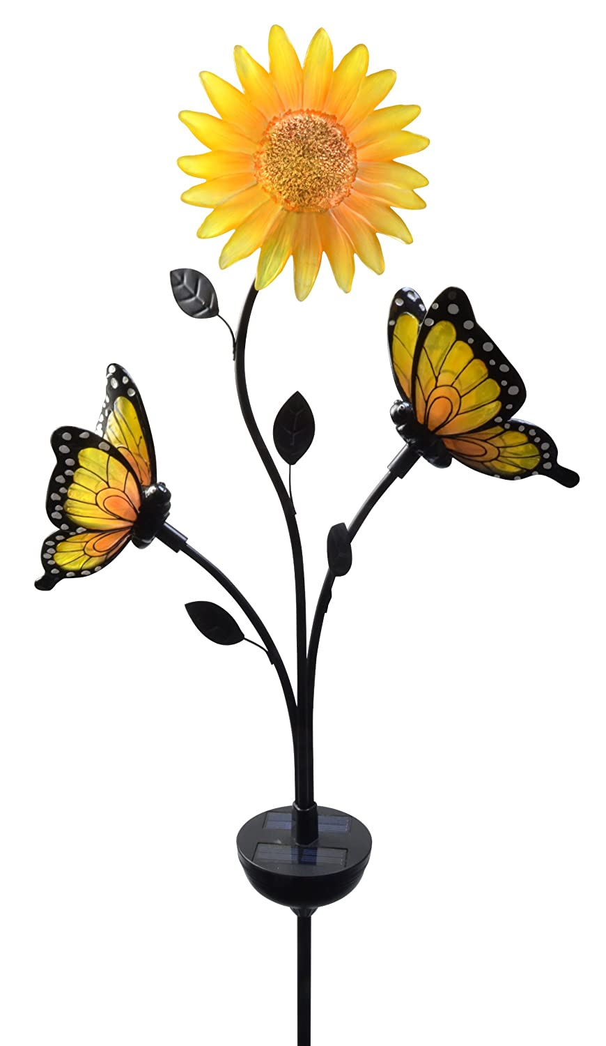 Yellow Flower Garden Stake With Lovely Butterflies