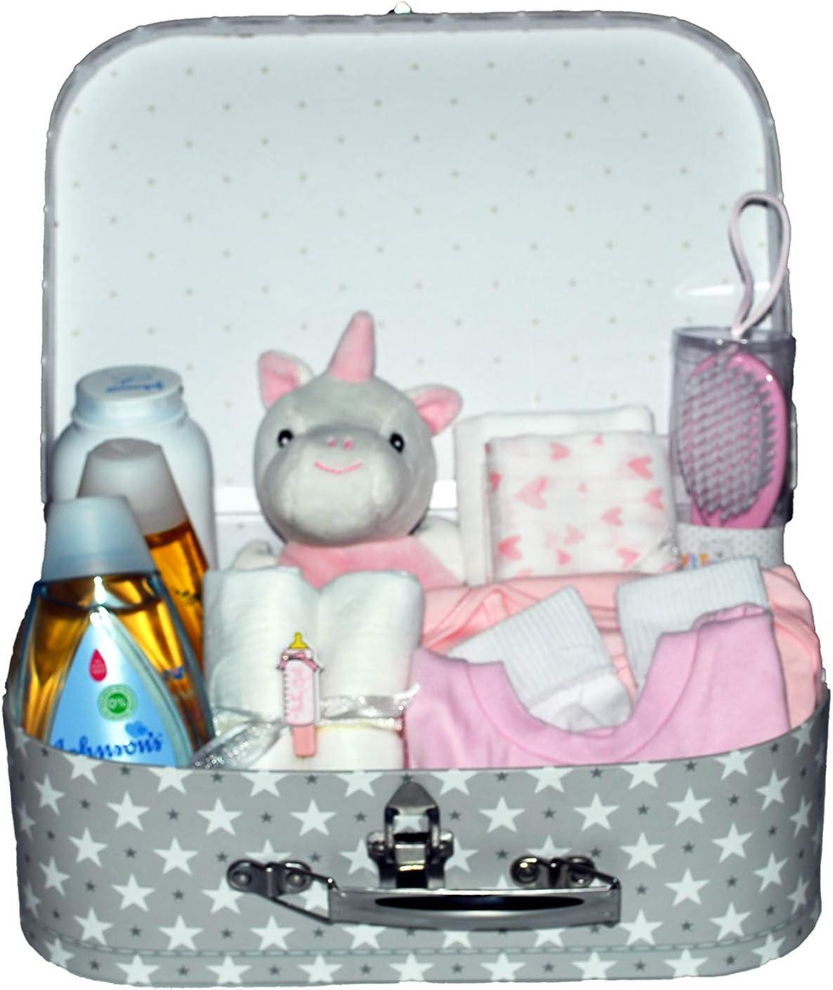 Cesta de regalo y recuerdo para reci/én nacidos incluye edred/ón de peluche y ropa de beb/é