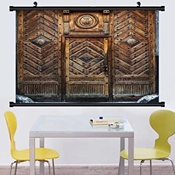 Gzhihine Wall Scroll Rustic Decor Collection Old Door Frame Traditional  Ornament Strong Rusty Gate Homefront Designing
