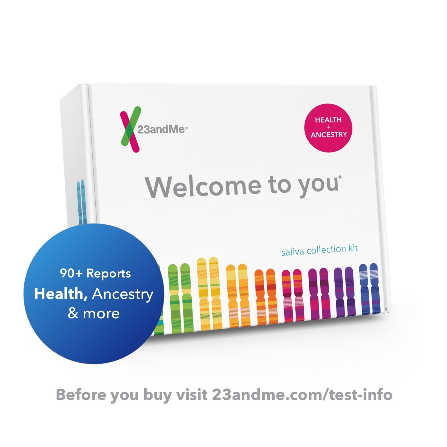 23andMe DNA Test - Health + Ancestry Personal Genetic Service - includes reports on Health, Wellness, Ancestry & More