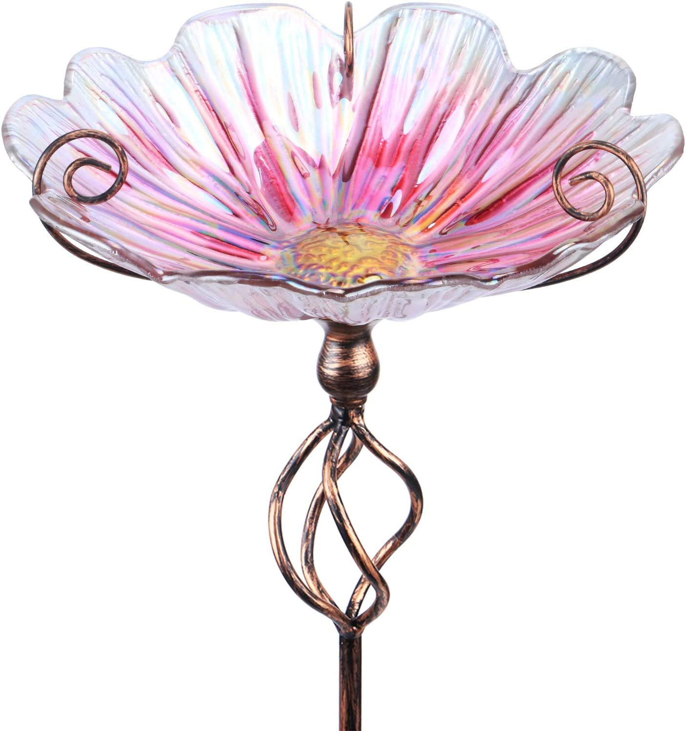 MUMTOP 31 Inch Height Glass Birdbath Birdfeeder with Metal Stake Garden Yard Outdoor Pink