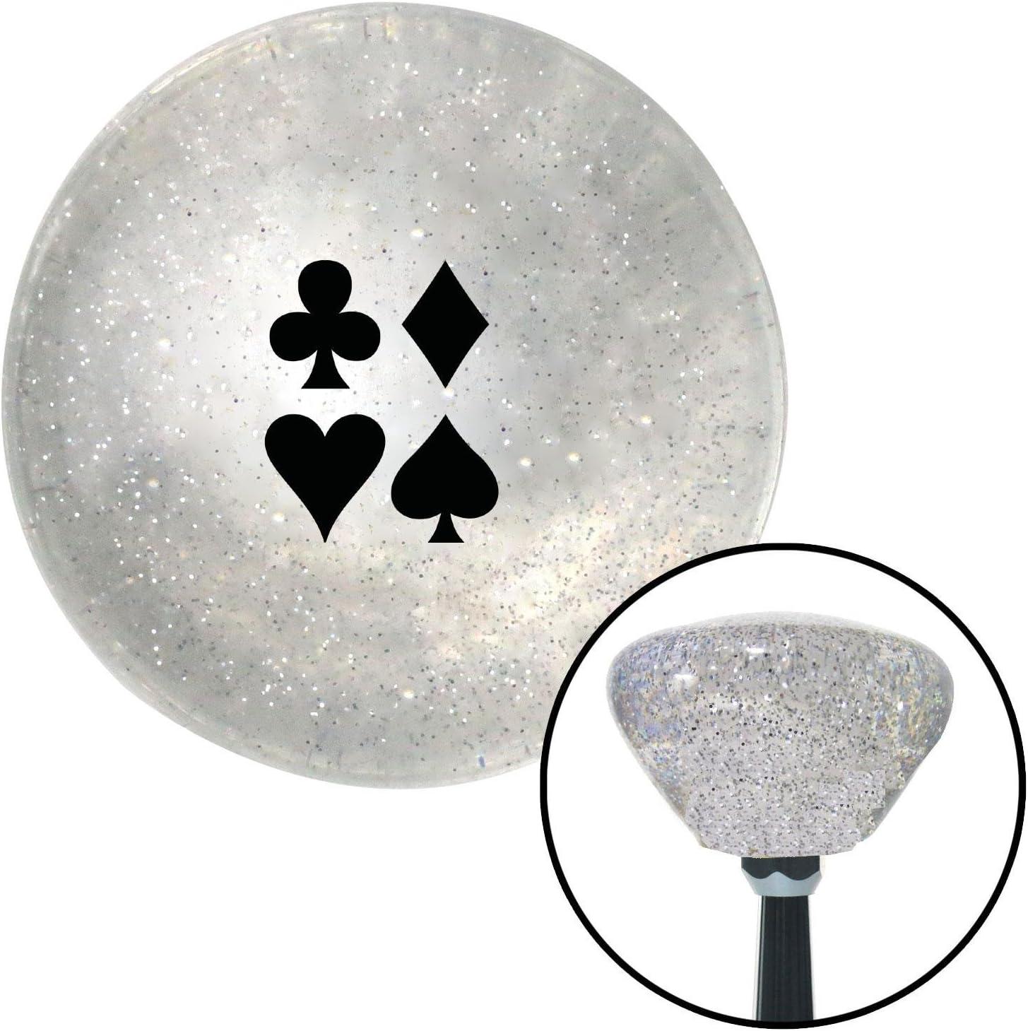 American Shifter 160471 Clear Retro Metal Flake Shift Knob with M16 x 1.5 Insert Black Clubs Diamond Heart Spades