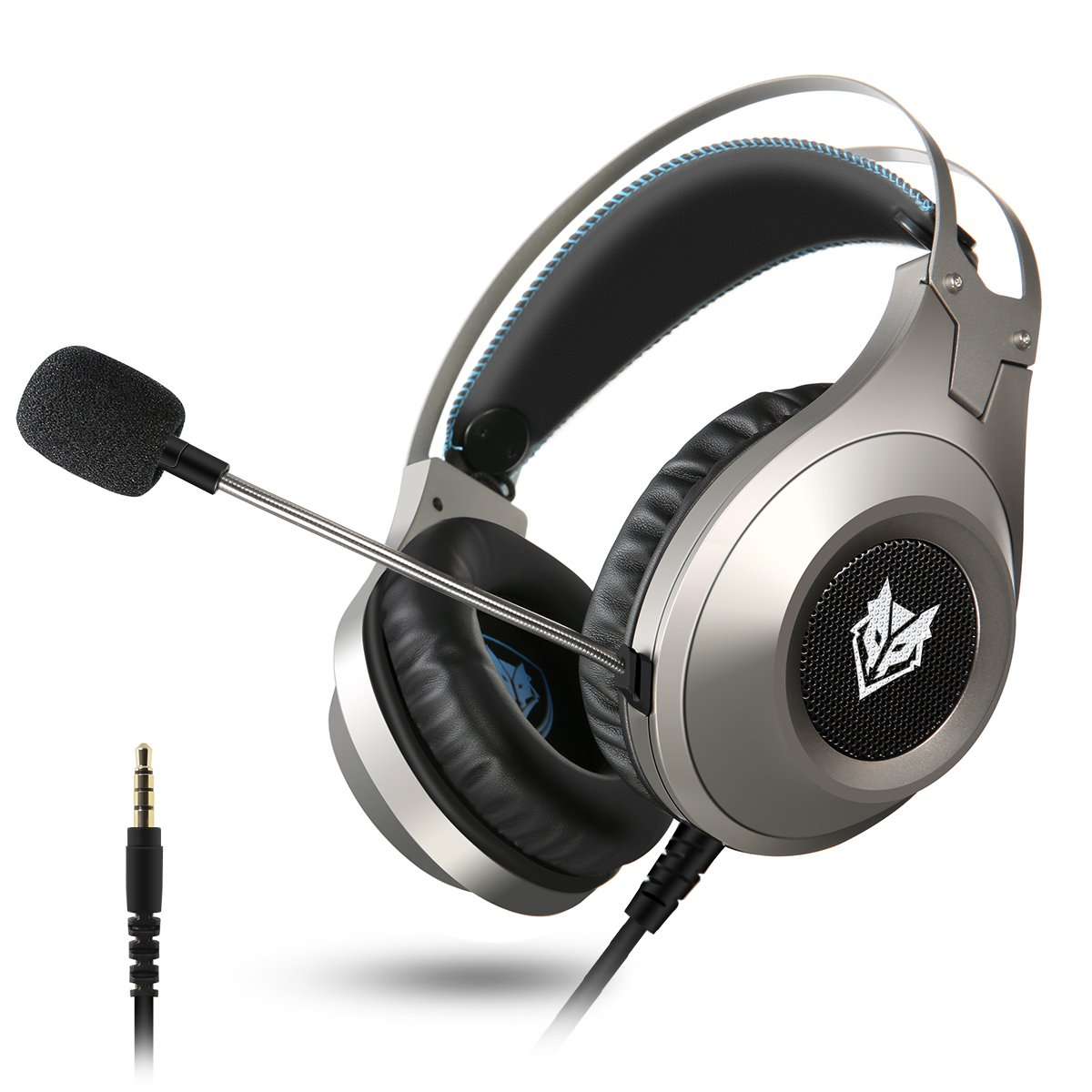 Computer Headsets, ELEGIANT Over-Ear Gaming Headphone with Microphone, Bass Stereo Surround Sound Volume Control, Compatible with PS4 Pro/PS4 Xbox One Nintendo Switch PC Mobilephone Laptop Mac-Silver