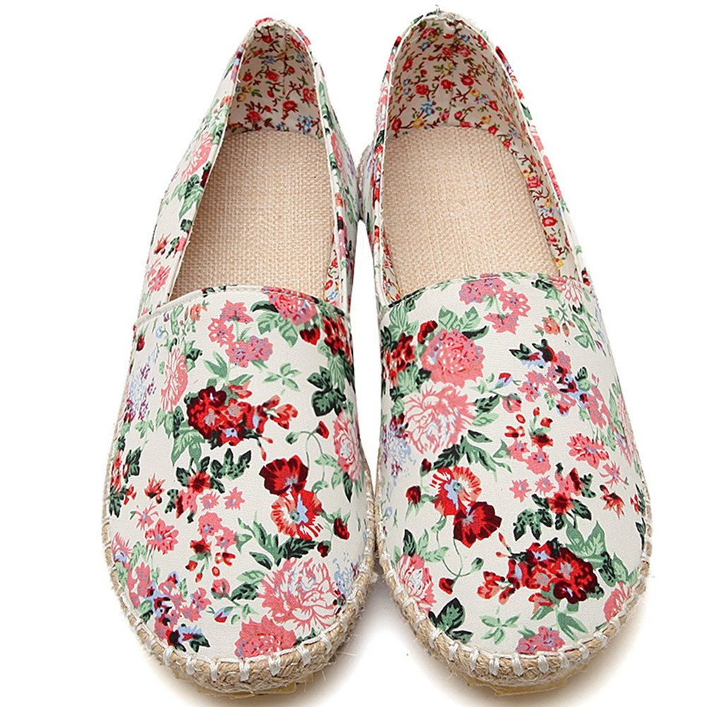 DoraTasia Womens Fashion Floral Shoes Slip on Comfortable Breathable Flat Shoes