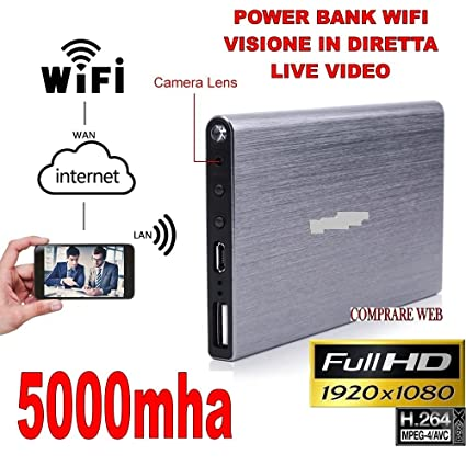 Power Bank WiFi 3 G Videovigilancia espía cámara oculta P2P IP 1920 x 1080P HD 5000