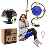 Climbing Rope Tree Swing with Platforms and Disc Swings Seat - Playground Swingset Accessories Outdoor for Kids - Trees House