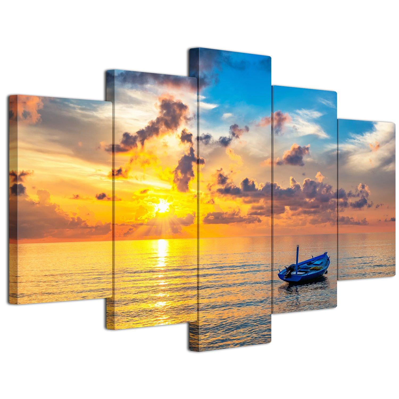 【リブラLibra】 5パネルセット アートパネル インテリアアート 海の景色 キャンバス絵画 (木枠付きの完成品) (S, LP1738) B075VLK7VD Small LP1738 LP1738 Small