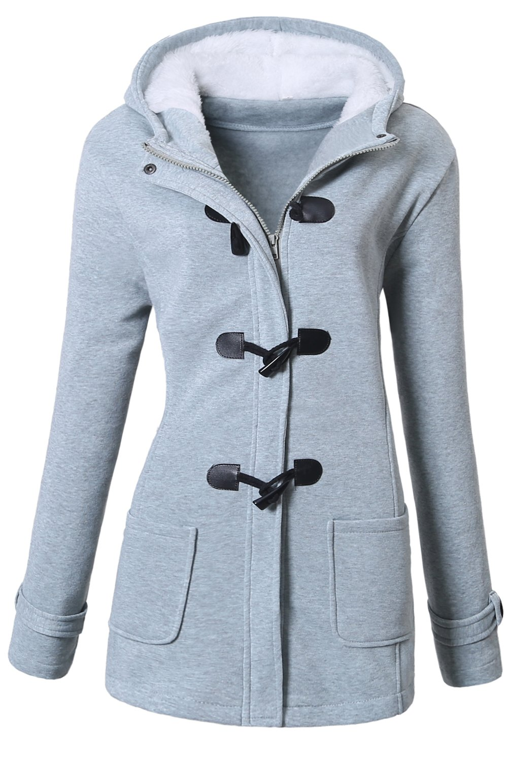 VOGRYE Womens Winter Fashion Outdoor Warm Wool Blended Classic Pea Coat Jacket Grey Large