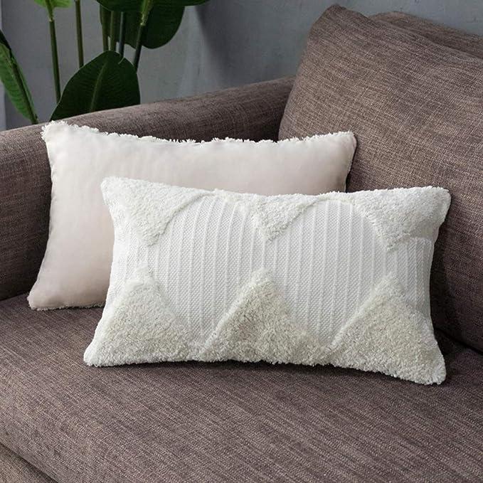 Tiffasea Lumbar Decorative Throw Pillow Cover Boho Neutral Farmhouse Decor Tufted Rumi Shag Pillows Case Accent Cushion Cover For Bed Sofa Living Room Bedroom 12 X 20 Inch Cream Home Kitchen