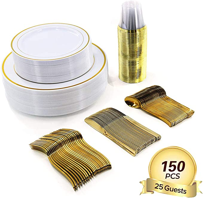 150 Pieces Disposable Plastic Plates Compostable Premium Bamboo Plates with Gold Rim For Party Wedding Birthdays 25 Dinner Plates 10.25"