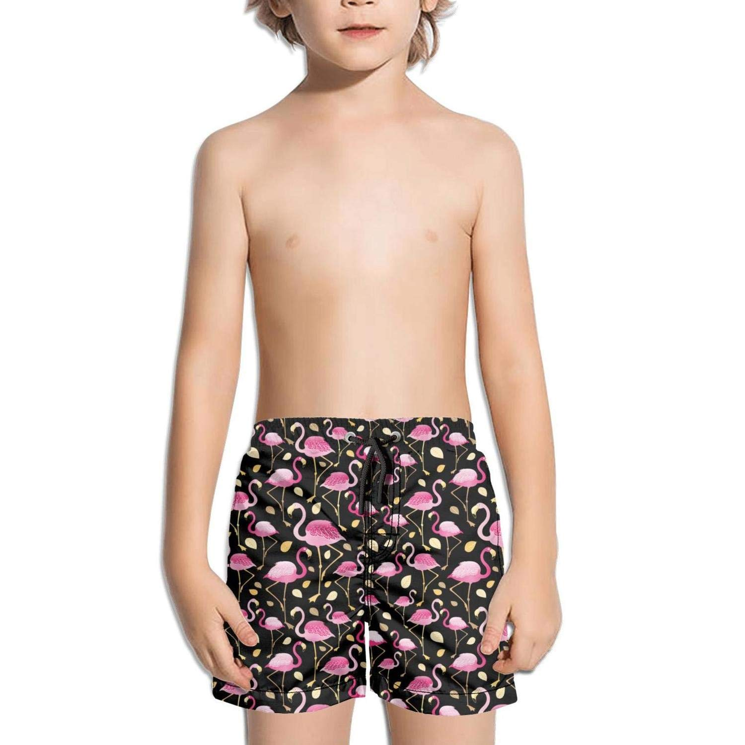 FullBo Love Flamingos are Awesome Pink Little Boys Short Swim Trunks Quick Dry Beach Shorts