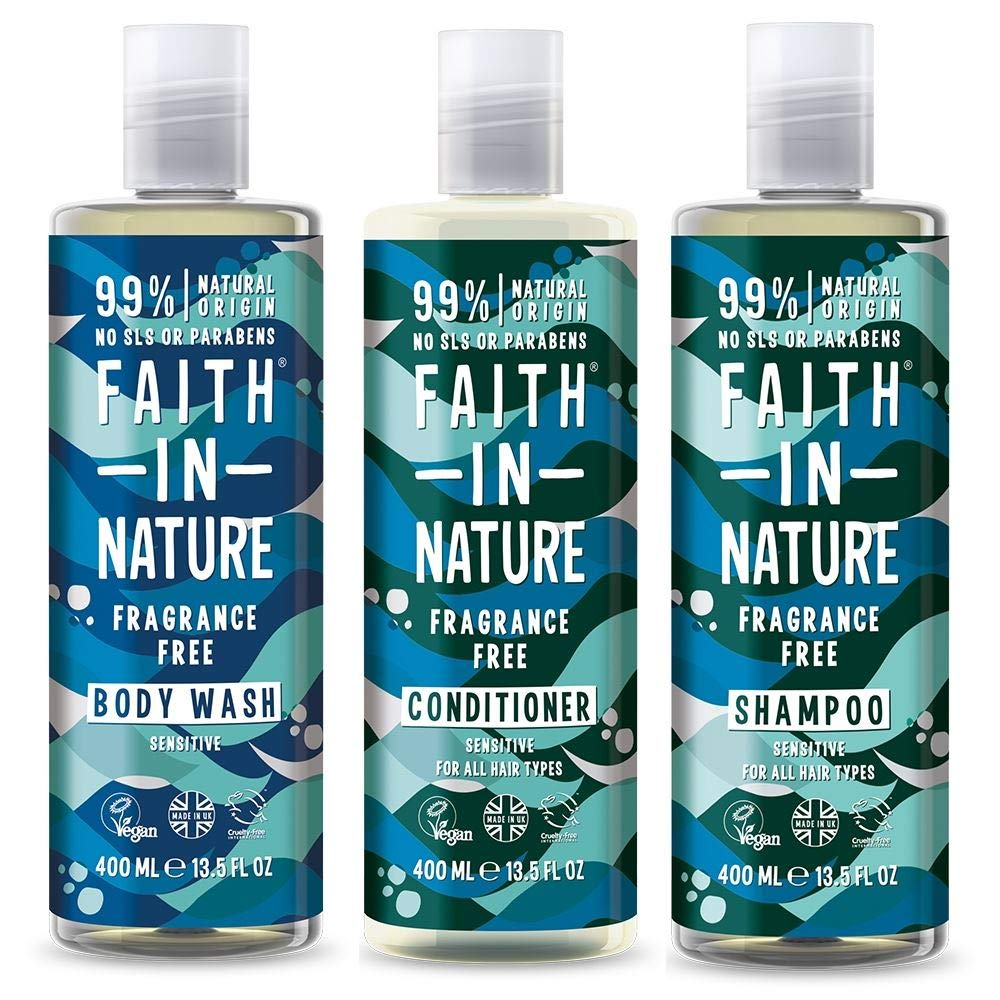 Faith In Nature Shampoo, Conditioner & Shower Gel Trio | Vegan | Cruelty Free | 99% Natural Fragrance | Free From SLS or Parabens… (Fragrance Free)