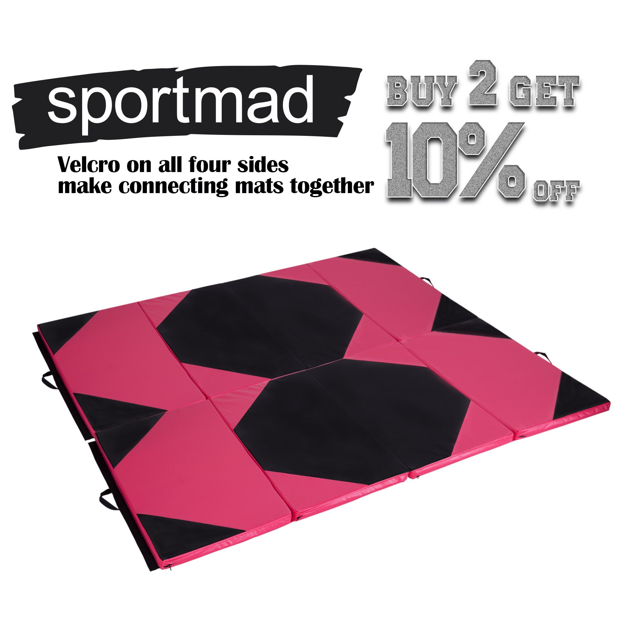 Sportmad 4'x10'x2 Thick Folding Panel Gymnastics Tumbling Mat Gym, Fitness, Exercise (Black/Pink) by Sportmad (Image #7)