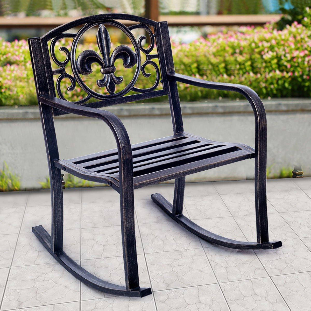 Amazon com patio metal rocking chair porch seat deck outdoor backyard glider rocker 28x24 garden outdoor