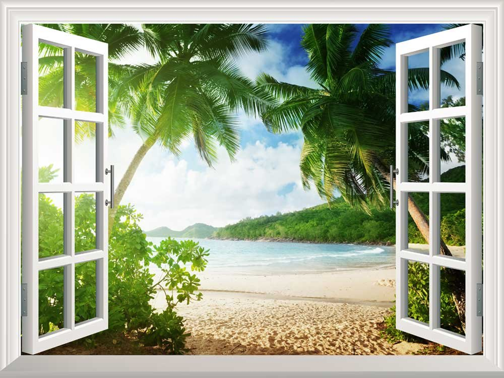 Removable Wall Sticker Wall Mural Sunset on The Tropical Beach with