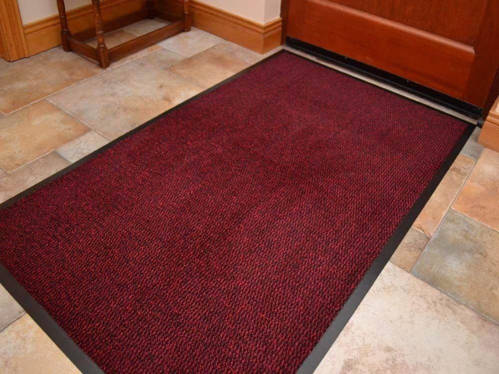 BTM NON SLIP DOOR MAT RUBBER BACKED RUNNER BARRIER MATS RUG PVC EDGED KITCHEN MAT (Brown, 60 X 180CM)