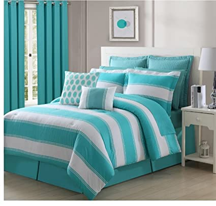 Amazon.com: 4 Piece Vint Stripe Pattern Comforter Set ... on turquoise bedroom design, turquoise bedroom style, turquoise and orange party, turquoise bedroom themes, turquoise furniture ideas, bedroom wall painting ideas, turquoise bedroom accessories, turquoise bedroom accents, turquoise white and gray bedroom, purple themed bedroom ideas, turquoise horse bedroom, turquoise girls bedroom ideas, turquoise bedroom walls, turquoise bedroom wallpaper, turquoise and brown bedroom ideas, turquoise master bedroom, turquoise bedroom decor, turquoise bedroom furniture, grey bedroom color scheme ideas,
