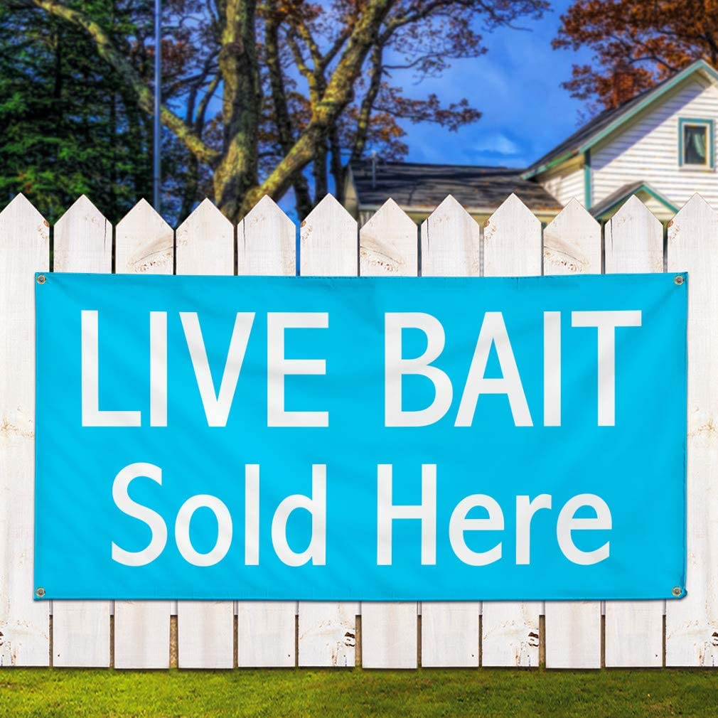 Vinyl Banner Sign Live Bait Sold Here #1 Style A Retail Marketing Advertising Blue 44inx110in One Banner 8 Grommets Multiple Sizes Available