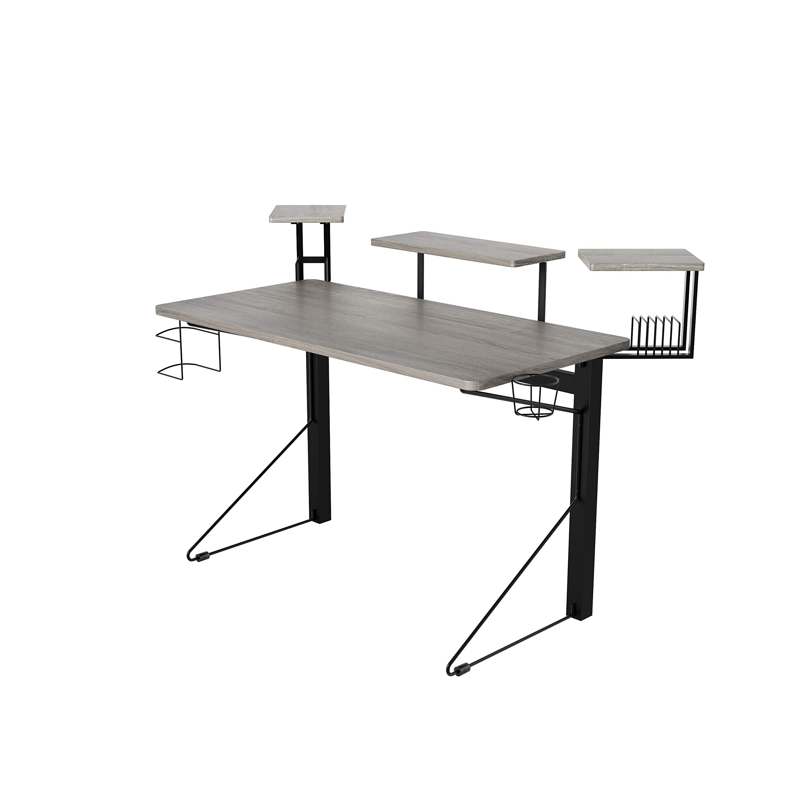 DAR JCDES777 CORE Computer Gaming Desk, Standard, Gray/Black by Dar
