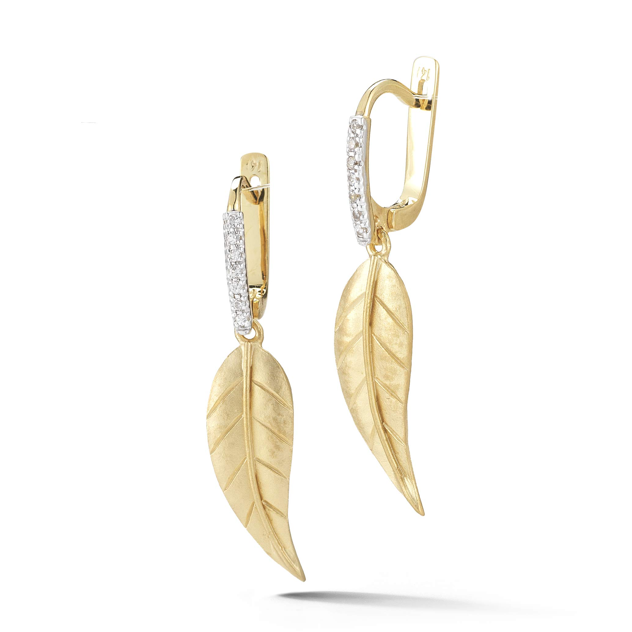 14K Yellow Gold 0.11ct TDW Diamond Accented Leaf Dangling Earrings