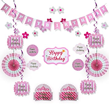 amazon com pink happy birthday party decorations supplies set for