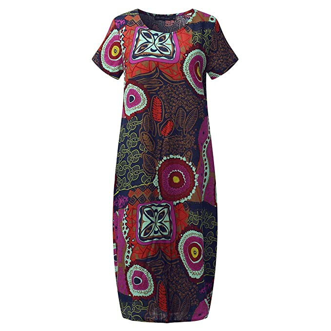 f84413d124 SIMSHION Womens Vintage Short Sleeve Floral Printed Pattern Round Neck  Casual Midi Long Dress Rose M