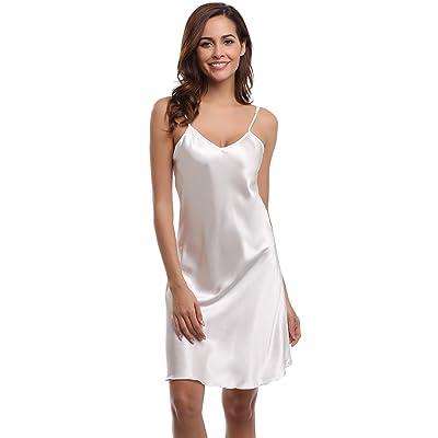 Aibrou Sexy Nightshirts Satin Spaghetti Strap Chemises Slip Nightgown Sleepwear at Women's Clothing store