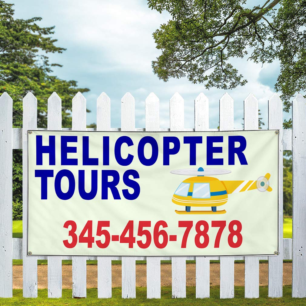 Custom Vinyl Banner Sign Multiple Sizes Helicopter Tours Phone Number Helicopter Business Outdoor Blue 10 Grommets 60inx144in One Banner