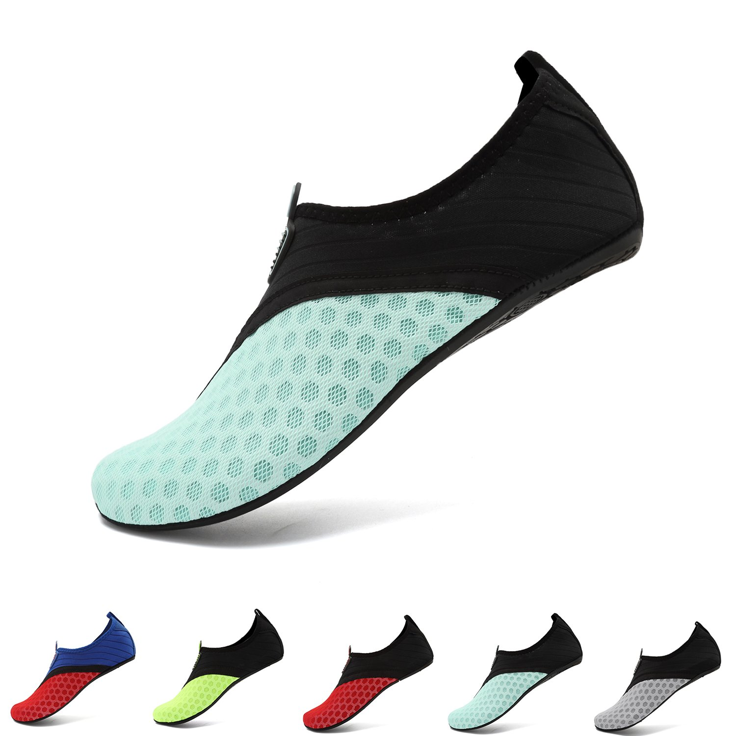 Water Sports Shoes Barefoot Quick-Dry Aqua Beach Swim Exercise Yoga Socks Slip-On for Men and Women Blue Black 36/37