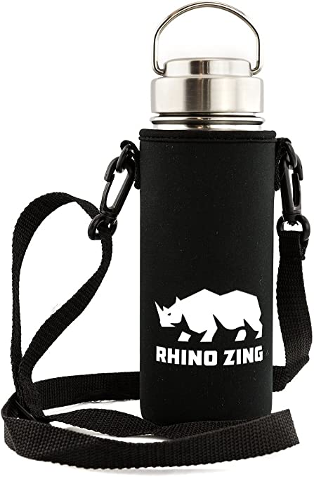 Insulated Sleeve//Pouch and Straw Lid Rhino Zing 32-Ounce Beer Growler Stainless Steel Travel Set Wide Mouth Bundle Water Bottle