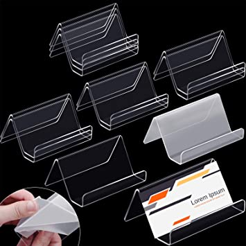 12 Pieces Business Card Holder Clear Acrylic Business Cards Display Holders Stand For Desk Desktop Name Card Rack Organizer Capacity 50 Cards Amazon Co Uk Office Products