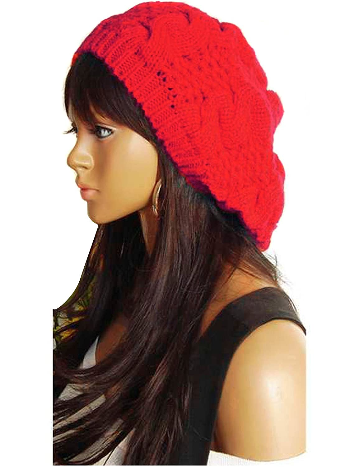 Women Beret Braided Baggy Beanie Crochet Knitting Warm Winter Wool Hat Ski Cap Red