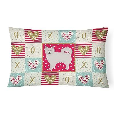 Caroline's Treasures CK5847PW1216 Italian Spitz Love Canvas Fabric Decorative Pillow, 12H x16W, Multicolor : Garden & Outdoor