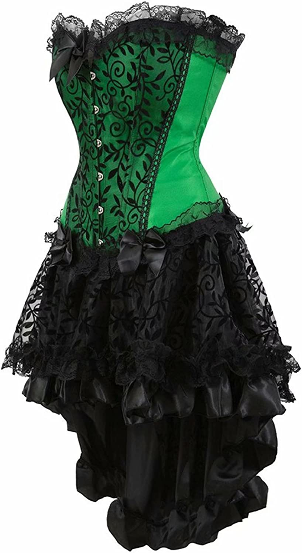 Corsage Korsett Kleid Unregelmäßig Corsagenkleid Bustier Vollbrust Spitzen  schnüren Rock Halloween Burlesque Grün Schwarz 15XL