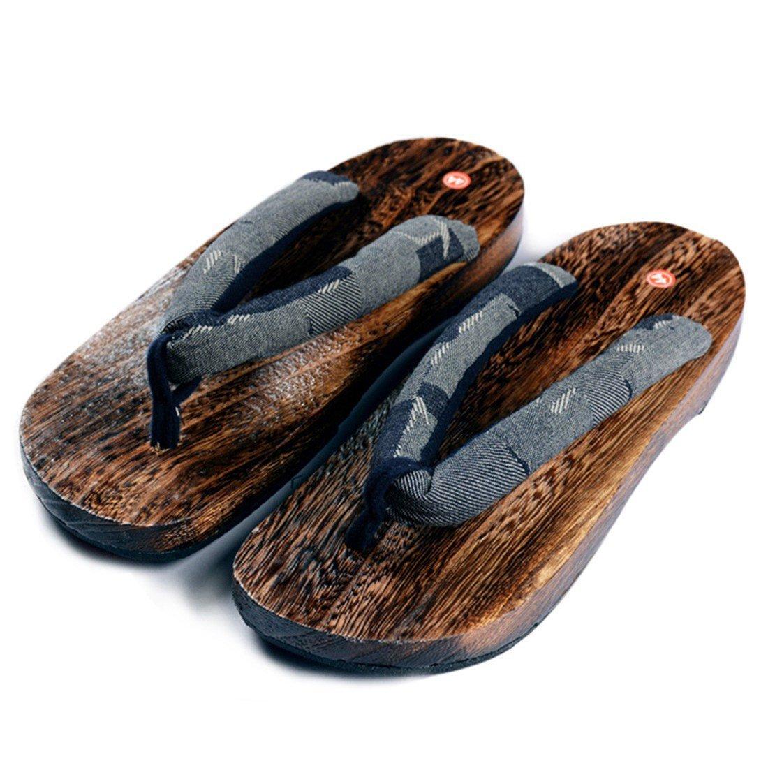 Qianle Mens Geta Japanese Traditional Flip Flops Sandals Wooden Shoes