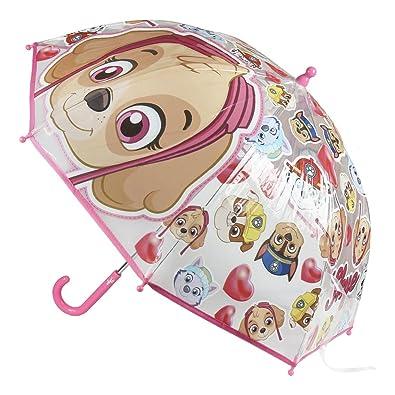 Paraguas transparente con cara de Skye.