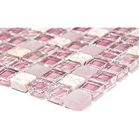 Mosaik-Netzwerk Mosaikfliese Quadrat Crystal/Stein mix rosa Glas Naturstein Fliesenspiegel, Mosaikstein Format: 15x15x8 mm, Bogengröße: 322x305 mm, 1 Bogen / Matte