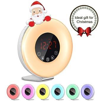 Reloj despertador despertador, 6 sonidos naturales, reloj digital con 7 colores de luz, ...